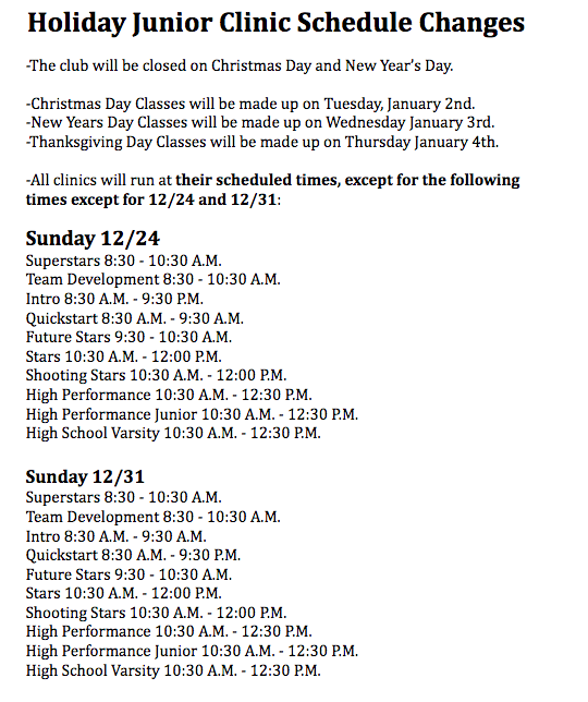 Holiday Junior Clinic Schedule